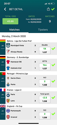 Betmines bet detail matches tipsters